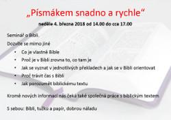 Pozvánka na seminář o Bibli