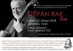 Pozvánka na koncert Štěpána Raka